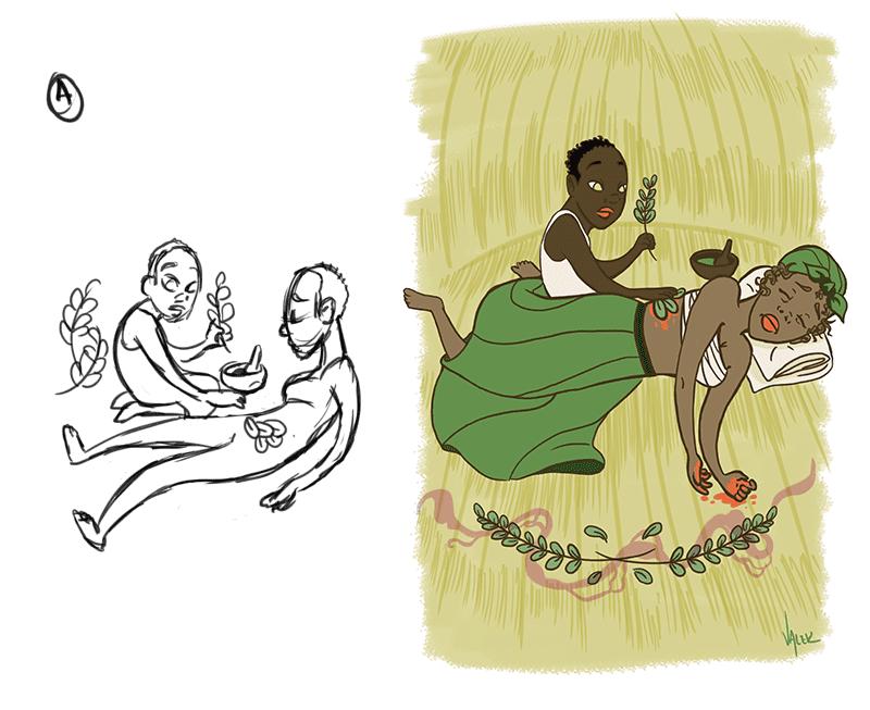À esquerda, esboço da cena; à direita, ilustração do capítulo finalizada