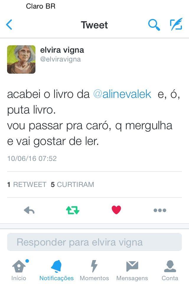 """Tweet da escritora @elviravigna: """"acabei o livro da @alinevalek e, ó, puta livro. vou passar pra caró, que mergulha e vai gostar de ler"""""""