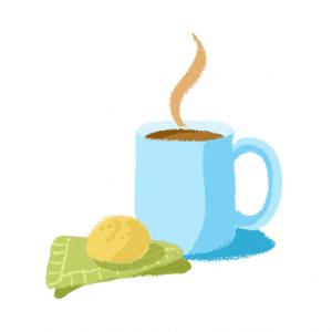 caneca de café com pão de queijo