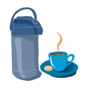 garrafa térmica e uma xícara de café